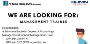 Rekrutmen Management Trainee PT Boma Bisma Indra